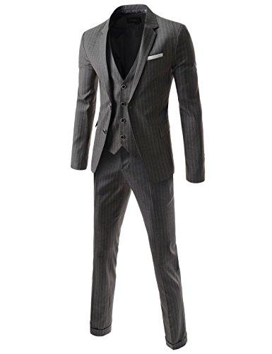 (DMS110) Mens Slim Single Breasted Notched Lapel Stripe Pattern Dress Suit Set GRAY X-Large(US Medium)
