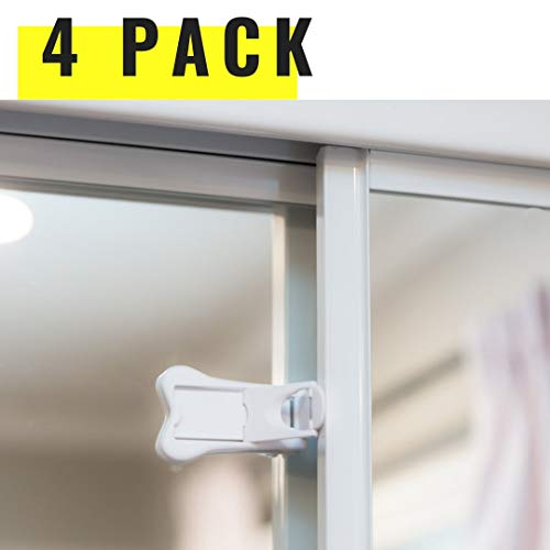 Sliding Door Locks for Baby Proofing | Keyless Child Safety Locks for Patio, Closet, Shower Sliding Doors, Shutters & More | No Tools Install (4 Pack, White) (Patio And All More Doors)