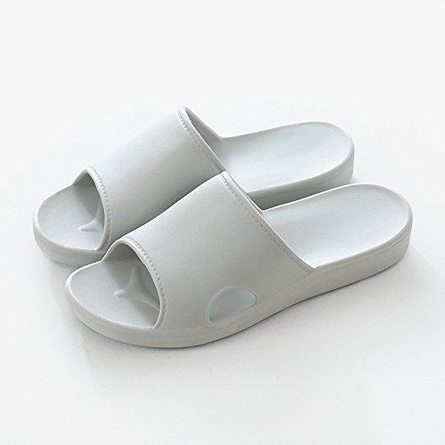 fankou Zapatillas Cool Verano Masculino Interior Parejas Antideslizante Espesor Suave Desgaste Zapatillas, Baño con Bañera,36-37, Gris Claro (Hembra)