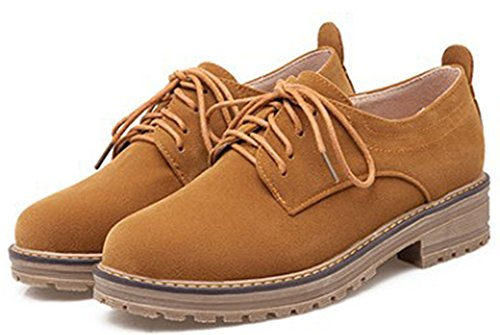 Low Low Platform Classic Heel Women's Chunky Shoes Up Lace Oxfords Camel IDIFU Top OHqEYX
