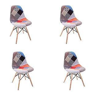 Lot de 4 Fauteuil Salon en Lin avec Chaise de Style Scandinave Meublé avec des fauteuils en Patchwork de Style Nordique…