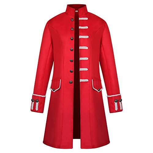 Steampunk Tailcoat Jacket Gothic Victorian Frock Coat Tuxedo Halloween Costume Red M ()