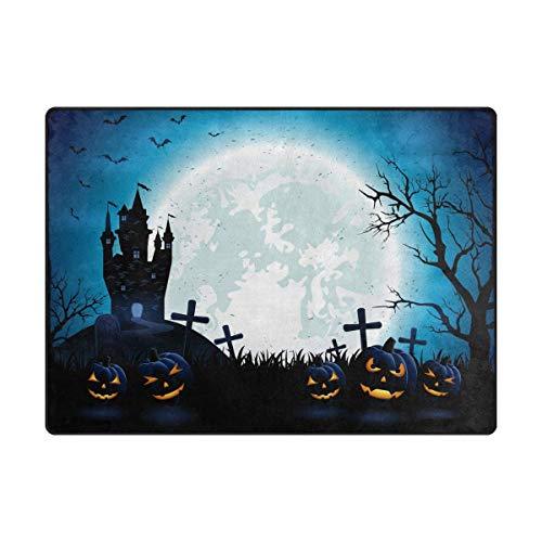 Area Rug Carpet Halloween Moon Night House Forest Bat Pumpkin Soft Non-Slip Runner Mat 4'x6', Indoors/Bedroom/Living/Dining/Kitchen Floor Mats,8mm Pile Height,Rectangular