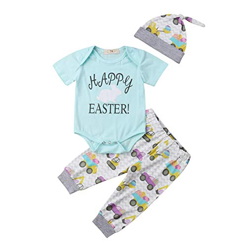 Newborn Infant My First Easter Outfit Baby Girl Boy Bunny Onesie Bodysuit Tops+Eggs Pants Hat Clothes Set 6-12 Months Blue