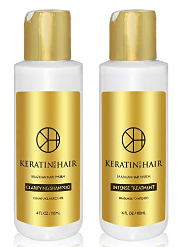 Brazilian Keratin Blowout Straightening Complex Smoothing Hair Intense Treatment 2 Bottle Kit Includes 4 Oz Treatment and 4 oz Clarifying Shampoo For Silky smooth Look by makers of Keratin Cure ()