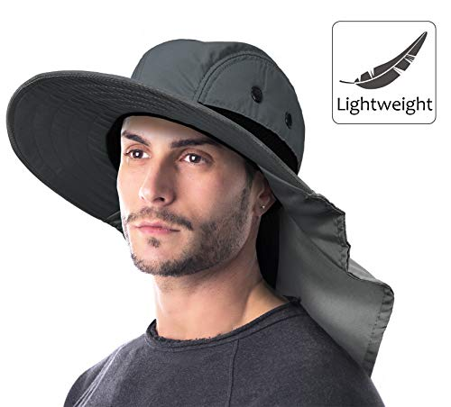 10bf5f5cb3239 Outdoor Fishing Hat with Ear Neck Flap Cover Wide Brim Sun Protection  Safari Cap for Men Women Hunting