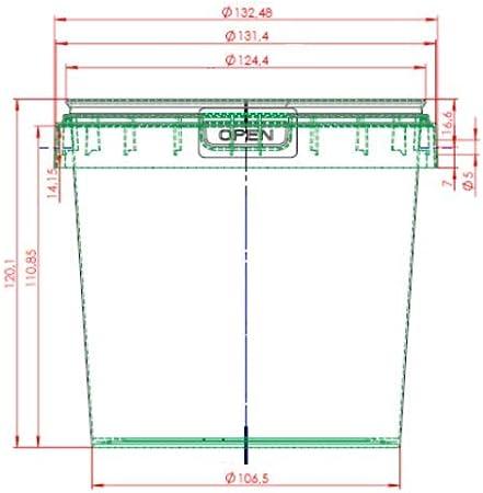 Trasparente 1L BEN BOW Secchio in plastica con Coperchio di Grado Alimentare Dotati di coperchi a Prova di manomissione 1x 1 Litro