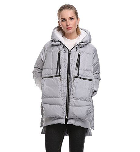 FADSHOW Women's Down Jacket Hooded Warm Coats Long Parkas,Grey,XL