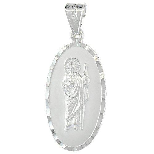 (Sterling Silver St. Jude Necklace San Judas Tadeo Medal Oval Diamond Cut Rim 1 1/8 inch Tall 22 inch Box_24)