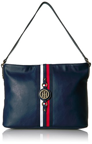 Tommy Hilfiger Purse for Women Jaden Hobo, Navy Polyvinyl Chloride