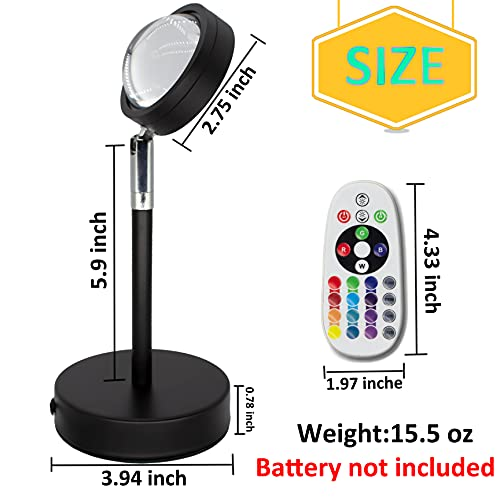Sunset Projection Lamp - 16 Colors Night-Light Rainbow Sunset Projector Lamp - 180 Degree Romantic Visual USB Sunset Lights - Sunset Projector Floor Lamp with Remote Control for Party Bedroom Decor