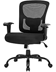 Big and Tall Office Chair, 400 lbs Ergonomic Mesh Desk Chair with Lumbar Support and Adjustable armrest Wide Seat Rolling Swivel Task Executive Chair for Home Office (Black)