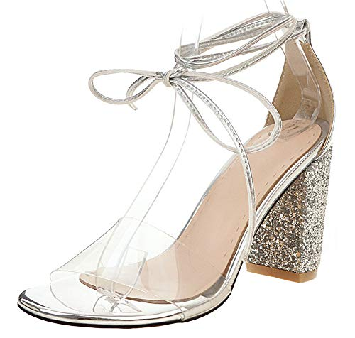 Mofri Women's Dressy Jelly Open Toe Lace Up High Chunky Heels Dress Shoes Sandals (Silver, 12 M US)