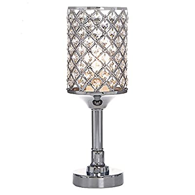 POPILION All-Match Style Romantic Atmosphere Bedroom Crystal Table Lamp,Inlaid Rhombus Crystal - 1.Design Style: Concise and elegant pure crystal lamp, natural fusion in any style scene 2.High Quality Raw Materials: Handpicked crystal,good light transmittance , throught a number of processes polished and refined 3.Security Certification:Our products have passed authentication of ETL safety system of US - lamps, bedroom-decor, bedroom - 41MOfTkB1zL. SS400  -