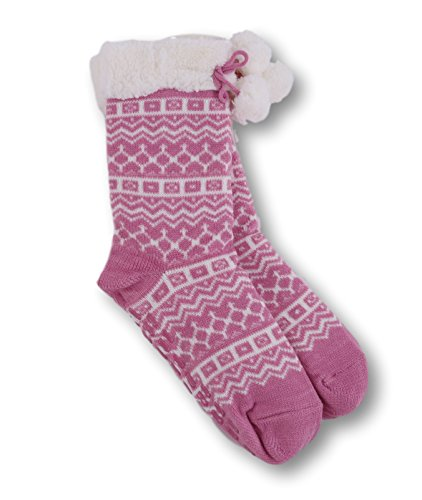 Pembrook Knit Slipper Socks - Soft and Warm Faux Shearling Lining and Non Skid Tread Sole - Timeless Pink Snowflake Design - Great Plush Slip On House Slippers For Adults, Women, Girls (Timeless Plush)