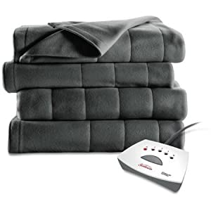 Heated Fleece Blanket Electric Dual Control Auto-Off Machine Washable Winter Bed by Sunbeam
