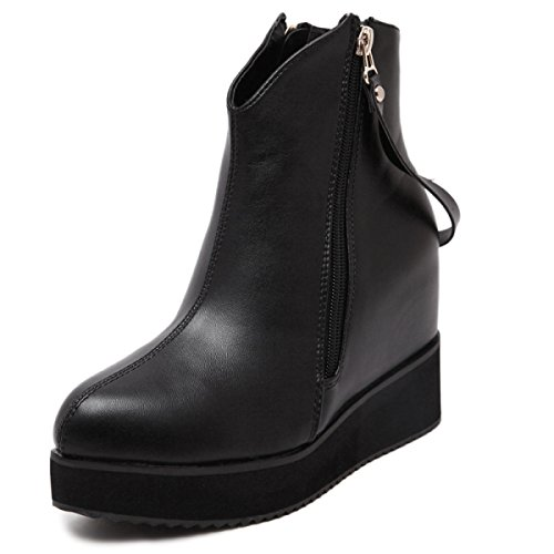 Female Boots Simple Side Zipper Women's Shoes Non-slip Wear-resistant Rubber Bottom Martin Boots Thick Bottom Increased Commute Boots Black fiaXZ2dRm
