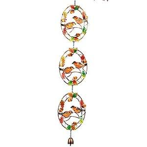 cosecha de otoño pájaros y campana de cristal y hierro dangler