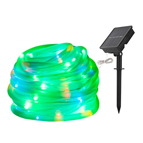 LED String Lights Solar RGB 100 LED Rope, Outdoor Waterproof, 33ft, 8 Lighting Modes, Ideal for Decoration,Thanksgiving, Garden, Lawn, Patio, Party (RGB)