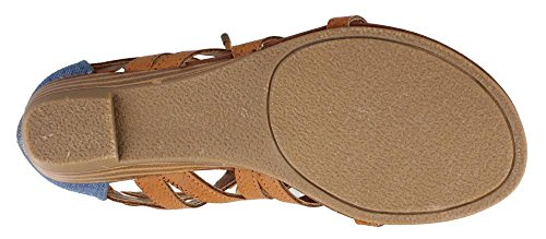 Rampage Frauen Santini Ausschnitt Lace-Up Open Toe Knöchelriemen Gladiator Sandale Natürliches Blau