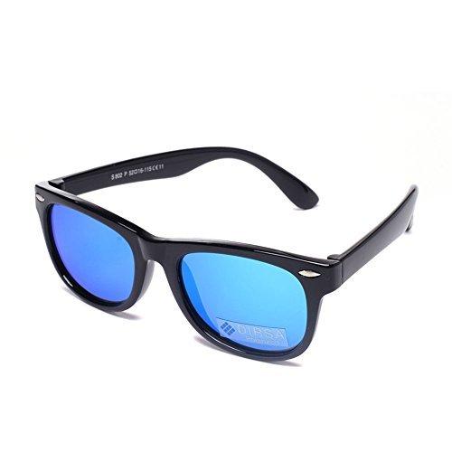 DIRSA Mirrored Lens Polarized Sunglasses Rubber Flexible Frame For Kids Age 3-10 (Black | Blue Mirrored Lens, black)