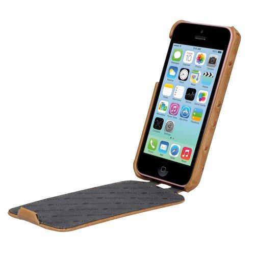 Melkco APIPONLCJT1KIOH Jacka Type Ostrich Print Pattern Premium Leder Case für Apple iPhone 5C khaki