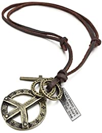 Men's Alloy Genuine Leather Pendant Necklace Gold Tone Cross Peace Sign Adjustable 16~26 Inch Chain