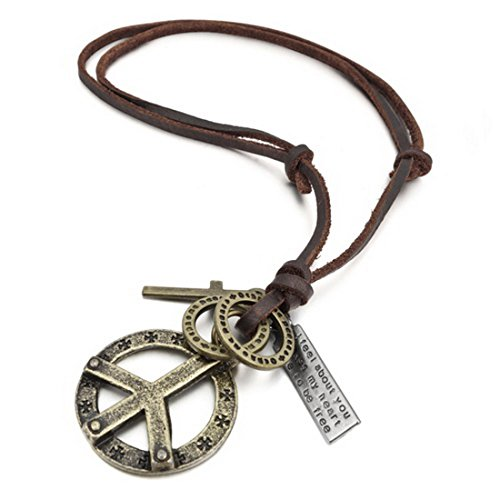 INBLUE Men's Alloy Genuine Leather Pendant Necklace Gold Tone Cross Peace Sign Adjustable 16~26 Inch Chain