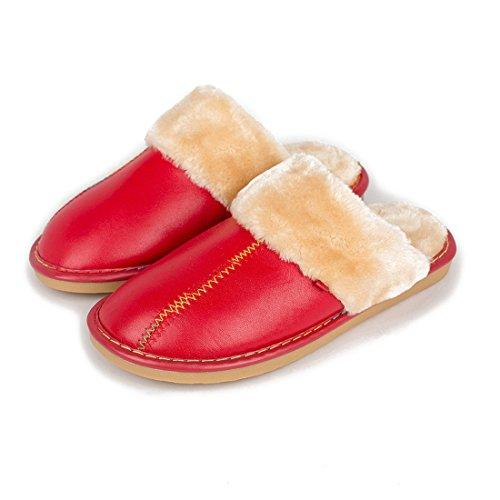 Warm Luxury Suede Outdoor Red Womens Slipper Shoes Leather Indoor Winter Maylian Plush Lined zxq1wH1