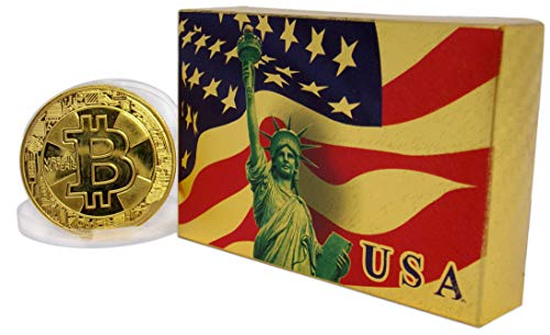 Big Texas Mall American Flag 24k Gold Poker Playing Cards w/Gold Plated Collectible Bitcoin Coin Place Setting Cards Real Gold Standard Professional Quality Gold Foil Plated Prestige Set (24k Gold Plated Playing Cards With Case)