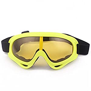 Minalo UV Protection Outdoor Sports Ski Glasses CS Army Tactical Military Goggles Windproof Snowmobile Bicycle Motorcycle Protective Glasses Ski Goggles (Lemon)