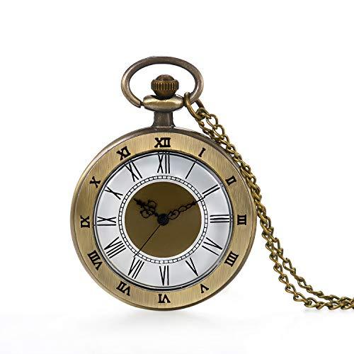 Bronze Pocket Watch 24 Hour Open Face Quartz Roman Numerals Scale with Chain ()