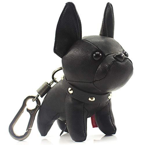 French Bulldog Leather Keychain, Key holder, Keyring, Key chains, Key ring (Black)