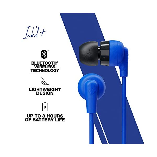 Skullcandy Inkd Plus Wireless in-Earphone with Mic (Cobatt/Blue) 2021 August Up to 8 Hours of Battery Life Rapid Charge: 10 Minutes = 2 Hours Microphone, Call, Track, and Vol Control