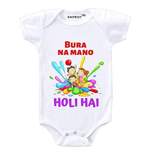 "KNITROOT Holi Baby Romper White Color Half Sleeve""Buro Na Mano Holi Hey""(9-12 Months)"