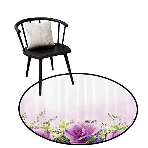 Fragrant Waters Roll - Non-Slip Round Rug Flower House Decor Can be Folded Spring Cabbage Flowers in Fragrant Bouquet with Partially Shaded Color Romance Lavender Green D16(40cm)