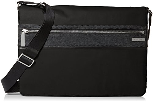 Calvin Klein Men's Coated Nylon with Saffiano Trim Messenger, Black by Calvin Klein
