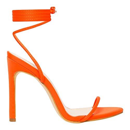 OLCHEE Women's Fashion Strappy High Heel Sandals - Round Open Toe Lace Up Stilettos - Neon Orange Size 7