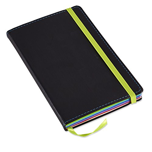Neenah Paper Astrobrights Color POP Journal, 47-lb, 5.12 x 8.25-Inches, 240-Pages, Soft Italian Leather Cover, Black (98831)