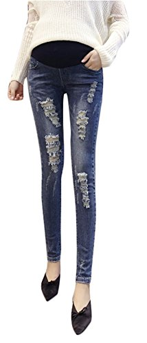 Plaid&Plain Women's Ripped Hole Denim Maternity Skinny Jeans with Neutral Belly Band DarkBlue 8