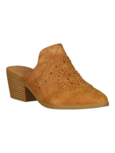 Alrisco Women Pointy Toe Weaved Stacked Chunky Mule RC41 - Camel Leatherette (Size: - Mules Camel