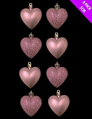 8 x 5cm BABY PINK / BLUSH PINK Glitter + Matt Heart Shaped Christmas Tree Bau... by Christmas Shop -