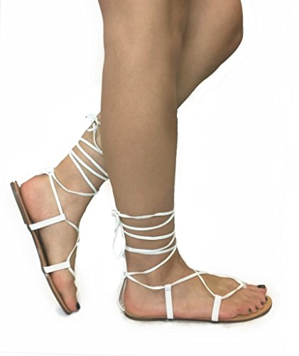 Dream Summer-17 Lace-Up Womens Sandals Wrap Around Criss Cross Casual Roman Gladiator, White, 7