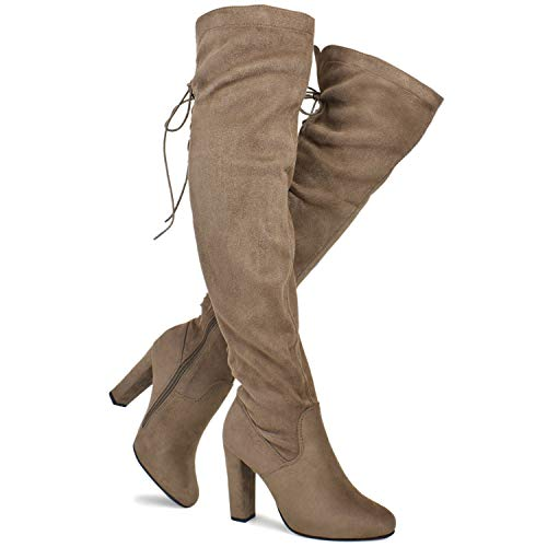 (Premier Standard - Women's Thigh High Stretch Boot - Trendy High Heel Shoe - Sexy Over The Knee Pullon Boot - Comfortable Easy Heel, TPS Booties-22Aloz Lt Taupe Size 8.5)