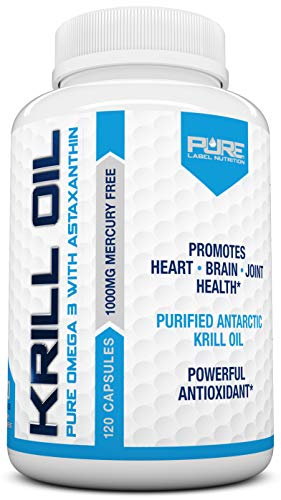 Krill Oil 1000mg with Astaxanthin 120 Caps Omega 3 6 9 - EPA DHA - 100% Purified, Mercury Free and Wild Caught - Non GMO - Gluten Free - Pure Krill Oil - Mega Dose Phospholipids (120 Capsules)