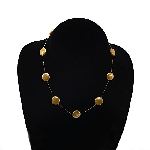 Golden Freshwater Pearl Necklace (14K Gold Chain 12~13mm Golden Freshwater Coin Pearl Necklace 18