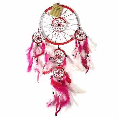 Red 16Cm Dream Catcher Metallic Web Design With Pink & White Feathers And Beads - Metallic Dreamcatcher