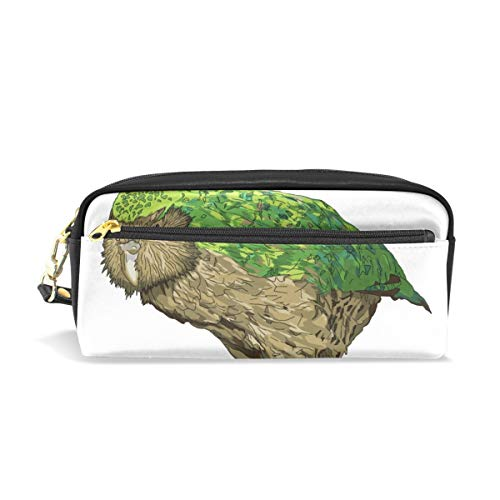 Pencil Bag Pen Case Kakapo New Zealand Bird- Stationery Pouch Makeup Holder Cosmetic Box for School Office, ChunBB PU ()