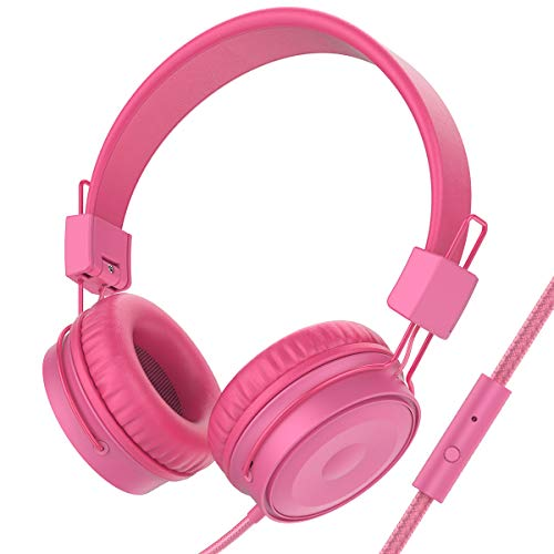 Baseman On Ear Headphones with Mic, Wired Lightweight Portable Folding Headsets Stereo Heavy Bass Earphones with 1.5M Tangle Free Cord and Microphone for Cellphones Laptop Tablet Mp4 Mp3 PC Rose