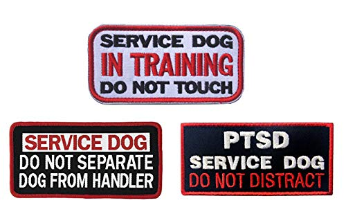 Antrix 3 Pieces Service Dog in Training Do Not Touch DO NOT Separate Dog from Handler PTSD Service Dog Do Not Distract Full Embroidered Morale Patch for Dogs and Pets